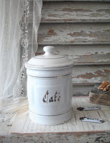 """Alte französische Emaille Vorratsdose """"Café"""""""