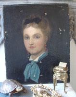 Shabby: Antikes Damen Porträt Öl auf Leinen