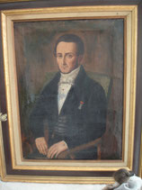 Shabby: Antikes Herren Porträt Öl auf Leinen