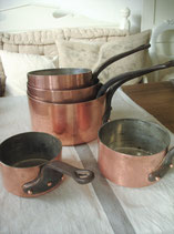 Dekoratives Set alter Kupfertopf (5 Stück) Frankreich