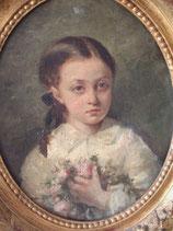 Antikes Porträt eines jungen Mädchens mit Blumen