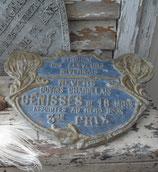 Alte große Metall Stallplakette aus Frankreich