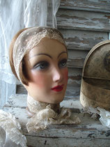 Dekorativer antiker Hutkopf Mannequin um 1920