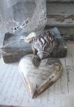 Seltenes antikes großes Herz / Ex Voto aus Silber 19. Jahrhundert