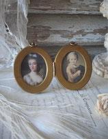 Antiker ovaler Doppel Messing Bilderrahmen Frankreich