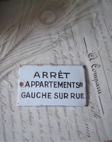 Altes französisches Metall Schild Emaille