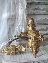 Antikes Set französischer Messing Vorhanghalter