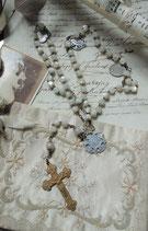 Shabby: Alter großer französischer Rosenkranz Lourdes