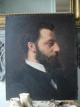So french: Antikes Herren Porträt Öl auf Leinen um 1900