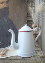 Alte französische Emaille Kaffeekanne