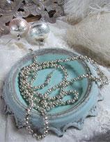 Schöne alte silberne Hohlglaskette Christbaumschmuck