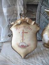 RAR: Wunderschöne alte Klosterarbeit bemalte Seide Frankreich