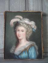Zauberhaftes antikes Pastell Porträt einer jungen Dame Frankreich