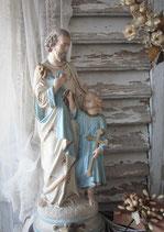 Shabby: Dekorativer großer Josef mit Jesuskind Gips Frankreich
