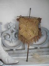 Antike kleine Fahne / Kirchenbanner Tapisserie um 1900