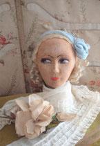 Dekorativer Kopf einer Boudoirpuppe Frankreich