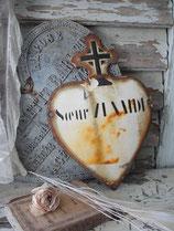 Antikes großes französisches Emaille Herz 1940