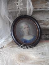 Alte Miniatur Pastell Porträt einer Dame Frankreich