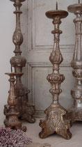 Soo french: Antiker Kirchenleuchter / Holz versilbert aus Frankreich