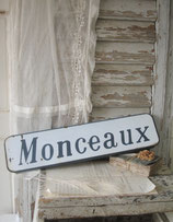 Altes französisches Emaille Ortsschild Monceaux