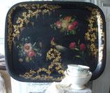 Antikes großes Metall Tablett bemalt 19. Jahrhundert