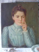 Zauberhaftes Mädchen Porträt Ölgemälde Frankreich 1900