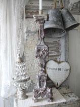 Antiker großer Altarleuchter Holz versilbert 18. Jahrhundert