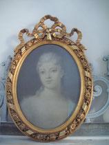 Zauberhaftes  altes Pastell Porträt einer jungen Dame Goldrahmen Frankreich