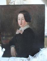 Antikes Biedermeier Damen Porträt Öl auf Leinen um 1840