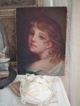 Zauberhaftes antikes Porträt eines jungen Mädchens, 19. Jahrhundert Frankreich