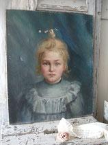 RESERVIERT! Wunderbares antikes Mädchen Porträt Öl auf Leinen um 1890