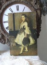 Zauberhaftes altes Mädchenbild auf Holz Frankreich