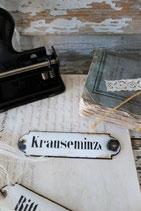 """Altes Emaille Apothekerschild Metall """"Krauseminze"""""""