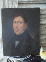 Antikes Herren Porträt Öl auf Holz um 1840