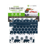 "Lunchskins 2-Pack Bag Set Sandwich Tüte & Snack Tüte ""Charcoal Bear """