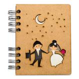 """Notizbuch, Notebook""""Hochzeit"""" mit Holzeinband, A5 liniert (von KOMONI)"""