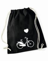Turnbeutel - Sportbeutel Fahrrad mit Herz schwarz