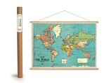 """Vintage Poster Set mit Holzleisten (Rahmen) und Schnur zum Aufhängen, Motiv """"Bacons Weltkarte, Bacons standard The World"""" (von Cavallini)"""