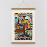 """""""Stockholm"""" Kunstdruck, Blockprint, Poster Set mit magnetischen Holzleisten (Rahmen) und Schnur zum Aufhängen"""
