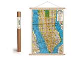 """Vintage Poster Set mit Holzleisten (Rahmen) und Schnur zum Aufhängen, Motiv """"""""New York, Housenumber and Transit Guide"""" (von Cavallini)"""