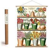 """Vintage Poster Set mit Holzleisten (Rahmen) und Schnur zum Aufhängen, Motiv """"Flower Market"""" (von Cavallini)"""