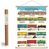 """Vintage Poster Set mit Holzleisten (Rahmen) und Schnur zum Aufhängen, Motiv """"Eisenbahn, Züge"""" (von Cavallini)"""