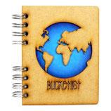 """Notizbuch, Notebook""""BucketList"""" mit Holzeinband, A5 liniert (von KOMONI)"""