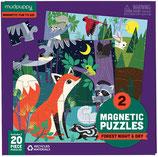 2 Magnetpuzzle - Wald bei Tag und Nacht (je 20 Teile) von mudpuppy