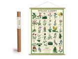 Vintage Poster Set mit Holzleisten (Rahmen) und Schnur zum Aufhängen, Motiv Botanic Garden, Blumen, Pflanzen (von Cavallini)