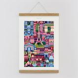 """""""Paris"""" Kunstdruck, Blockprint, Poster Set mit magnetischen Holzleisten (Rahmen) und Schnur zum Aufhängen"""