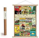 """Vintage Poster Set mit Holzleisten (Rahmen) und Schnur zum Aufhängen, Motiv """"Camping"""" (von Cavallini)"""