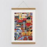 """""""Amsterdam"""" Kunstdruck, Blockprint, Poster Set mit magnetischen Holzleisten (Rahmen) und Schnur zum Aufhängen"""
