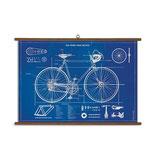 """Vintage Poster Set extra groß mit Holzleisten (Rahmen) und Schnur zum Aufhängen,  Motiv """"Blueprint Fahrrad"""""""