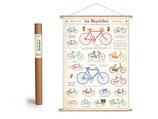 """Vintage Poster Set mit Holzleisten (Rahmen) und Schnur zum Aufhängen, Motiv """"Fahrräder"""" (von Cavallini)"""
